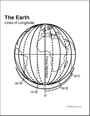 Clip Art: Earth: Lines of Longitude (coloring page).
