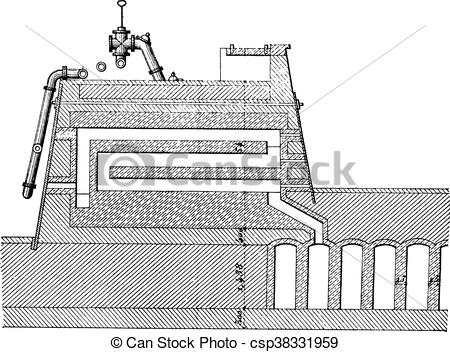 Clipart Vector of Furnace coke, Carves system, Longitudinal.