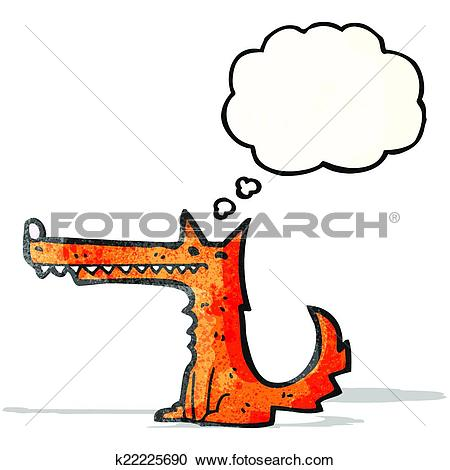 Clipart of cartoon long nose fox with thougth bubble k22225690.