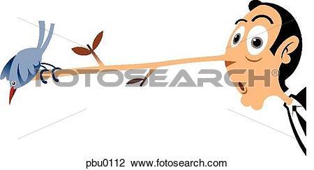 Clip Art of A bird perching on a man's long nose pbu0112.