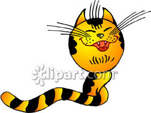 Striped Cartoon Cat with a Long Tail Royalty Free Clipart Picture.