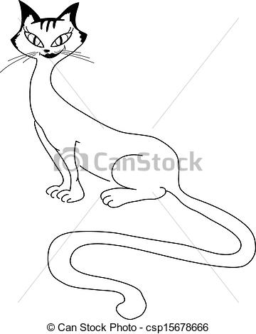 Clip Art Vector of Sitting beautiful cat with a long tail.