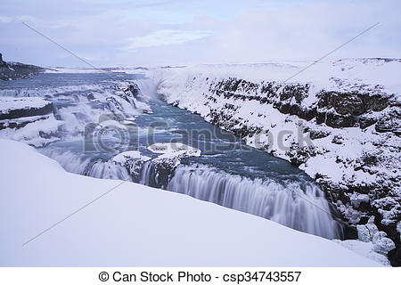 Stock Images of Waterfall Gullfoss in Iceland, long time exposure.