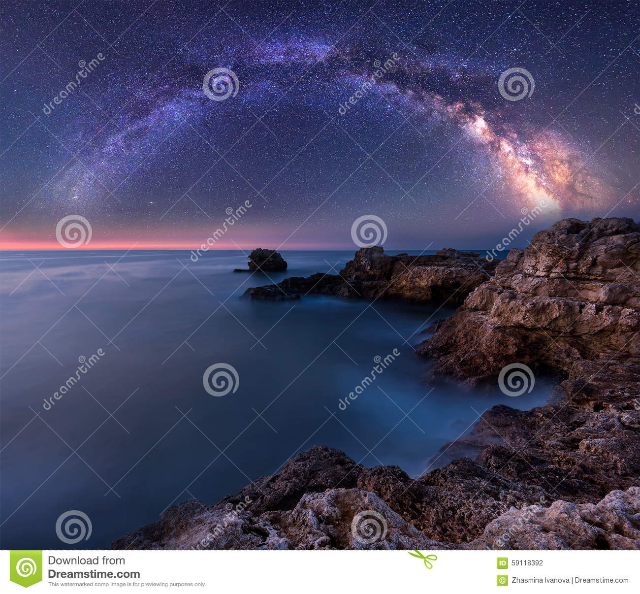 Milky Way Over The Sea Stock Photo.