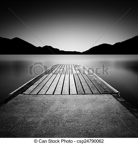 Stock Image of Jetty on a lake in Bavaria, Germany, long time.