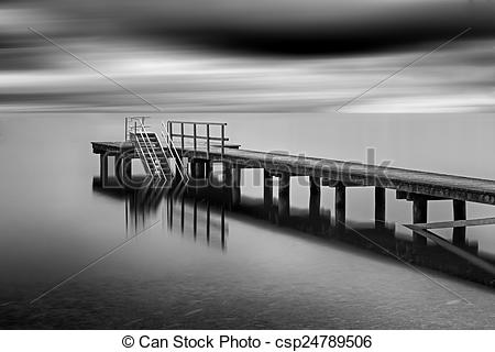 Stock Photography of Jetty on lake Chiemsee, Germany, long time.