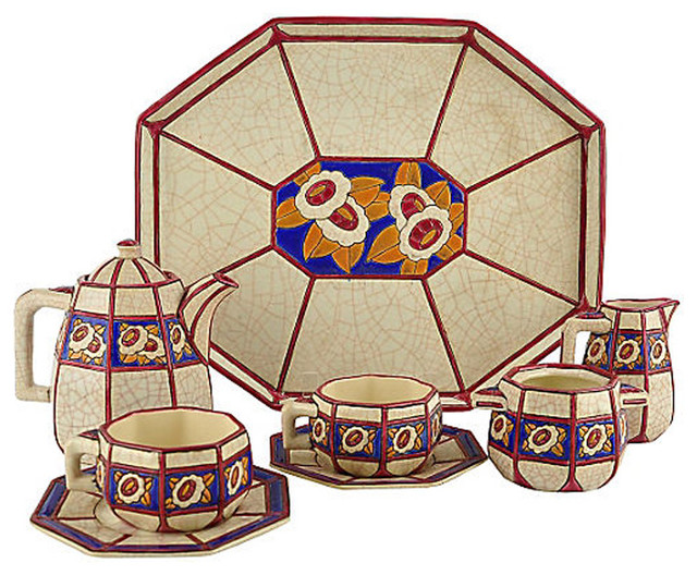 Consigned Longwy French Faience Pottery Tea Set.
