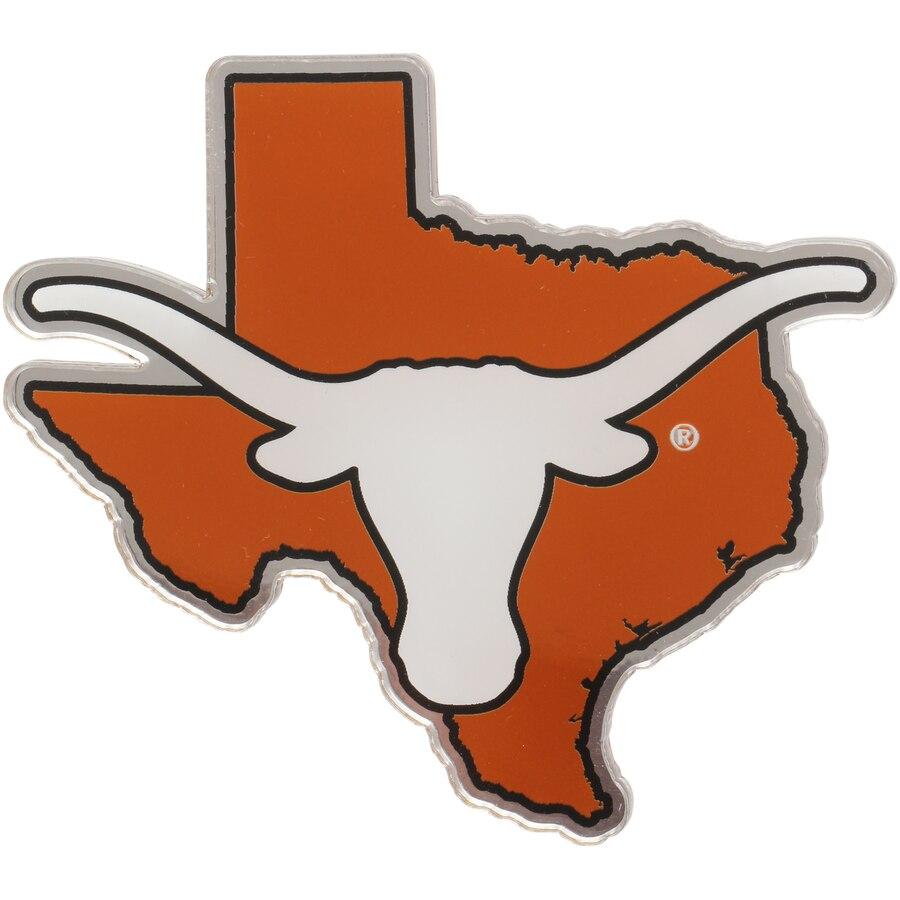 Texas Longhorns State Shape Acrylic Metallic Auto Emblem.
