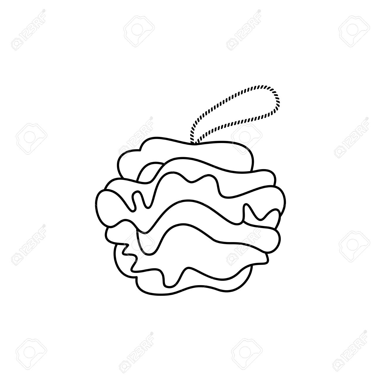 Doodle Shower Scrubber. Shower Puff vector icon on white background..