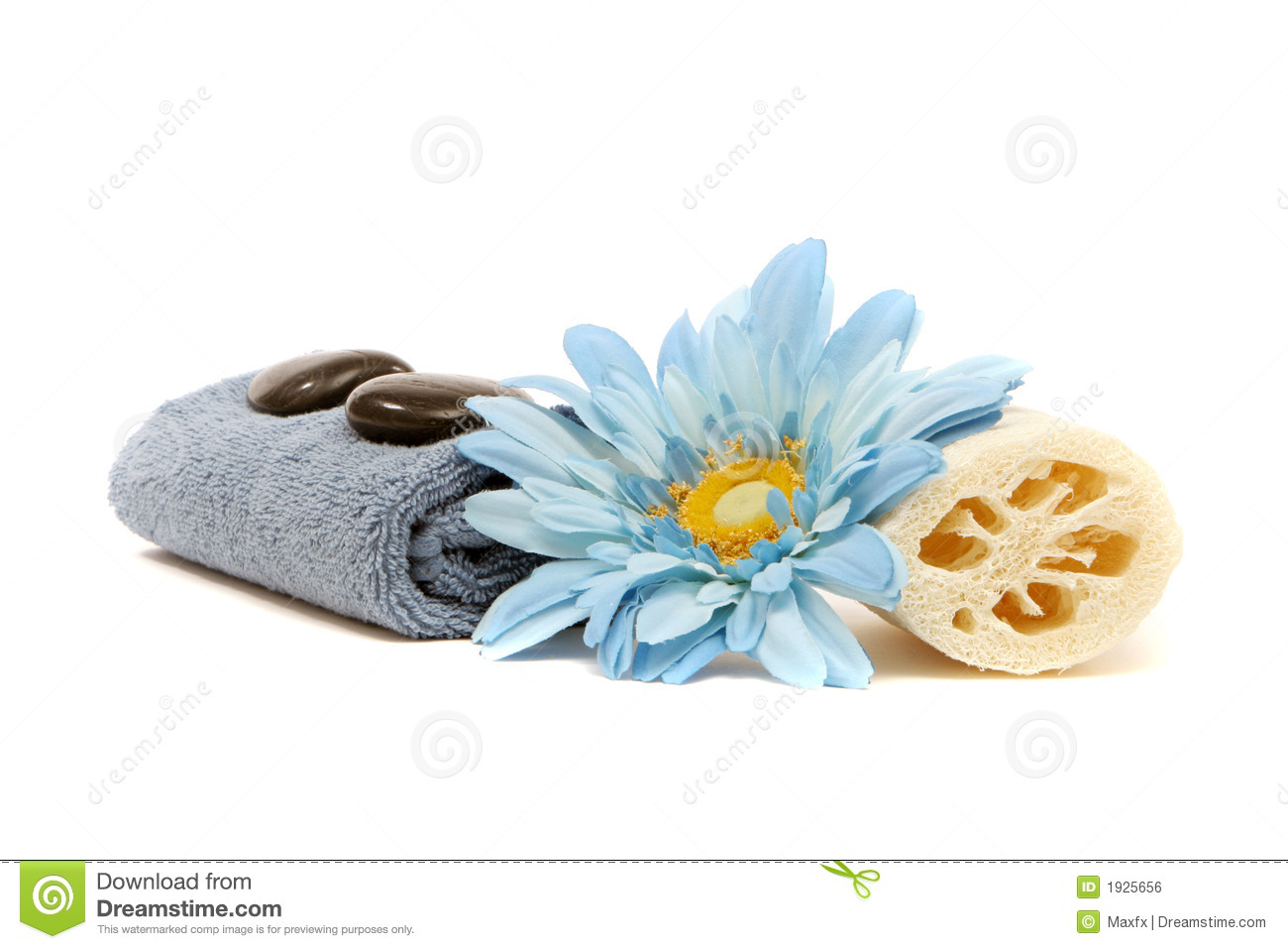 Spa Towel, Loofah, Flower And Rocks Royalty Free Stock Image.