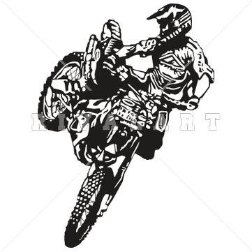 Sports Clipart Image of Bmx Dirt Bike Motocross Super Silhouette.