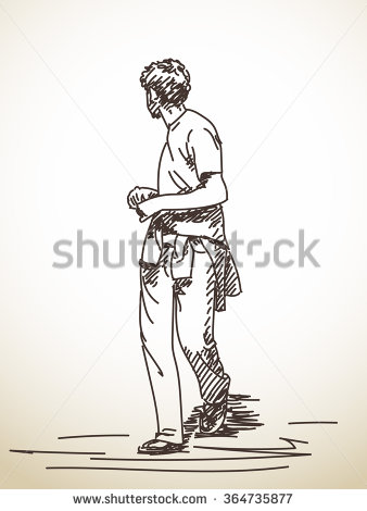 Sketch of walking man turned to look back, Hand drawn illustration.