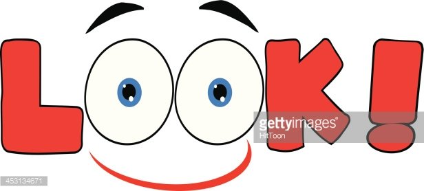 Red Cartoon Eyes Text Look With Smile Clipart Image.
