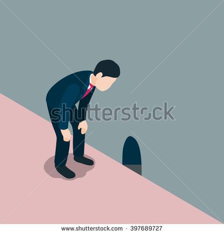 Business Man Look Down Through Rat Hole. Vector Illustration.