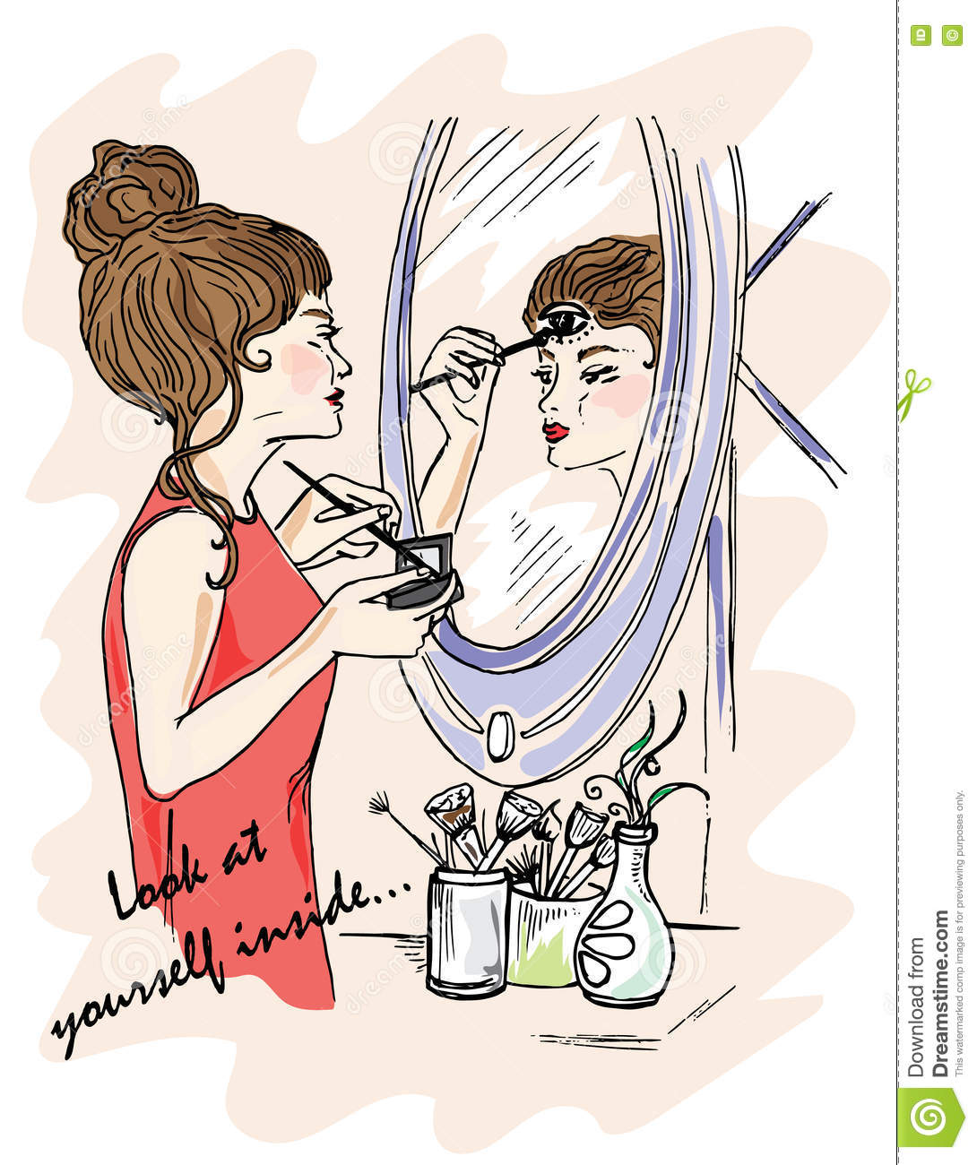 Illustration For The Book. Look At Yourself Inside. The Girl Does.