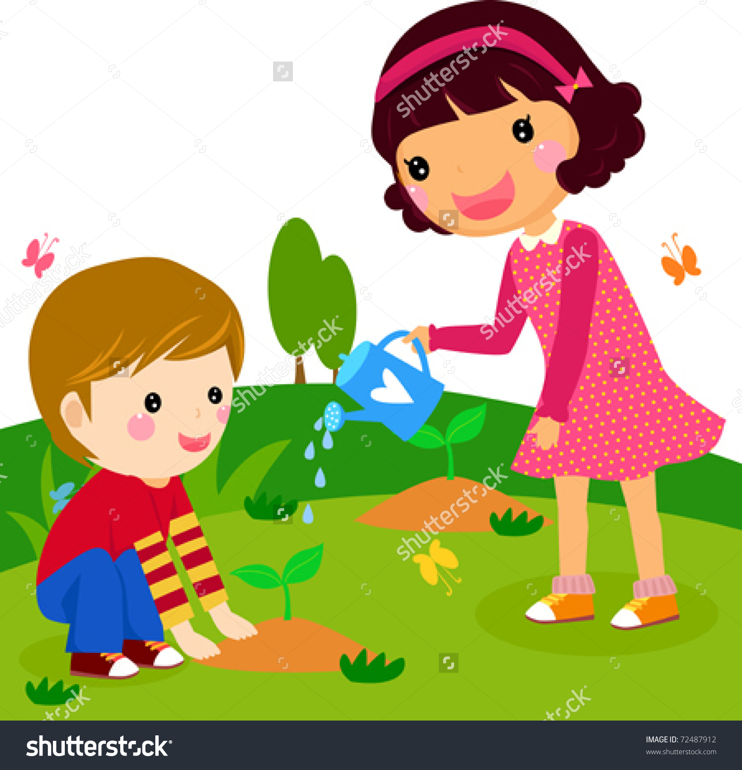 Take a drink to person in garden clipart.
