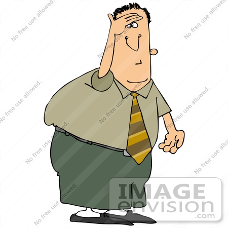 Clip Art Graphic of a Businessman On The Look Out.