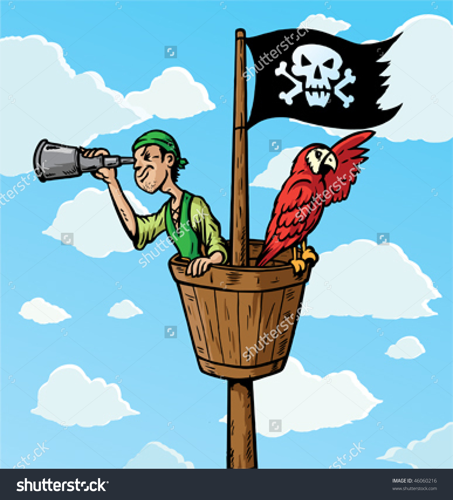 Cartoon Pirate Scout Parrot On Lookout Stock Vector 46060216.