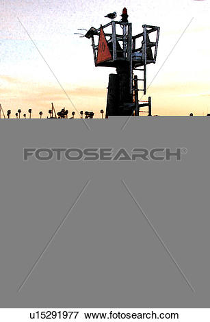 Stock Illustration of look out tower in ocean u15291977.