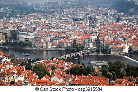Stock Photo of Prague City View from Petrin lookout tower.