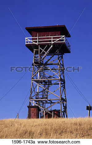 Stock Photography of Low angle view of a lookout tower, South.