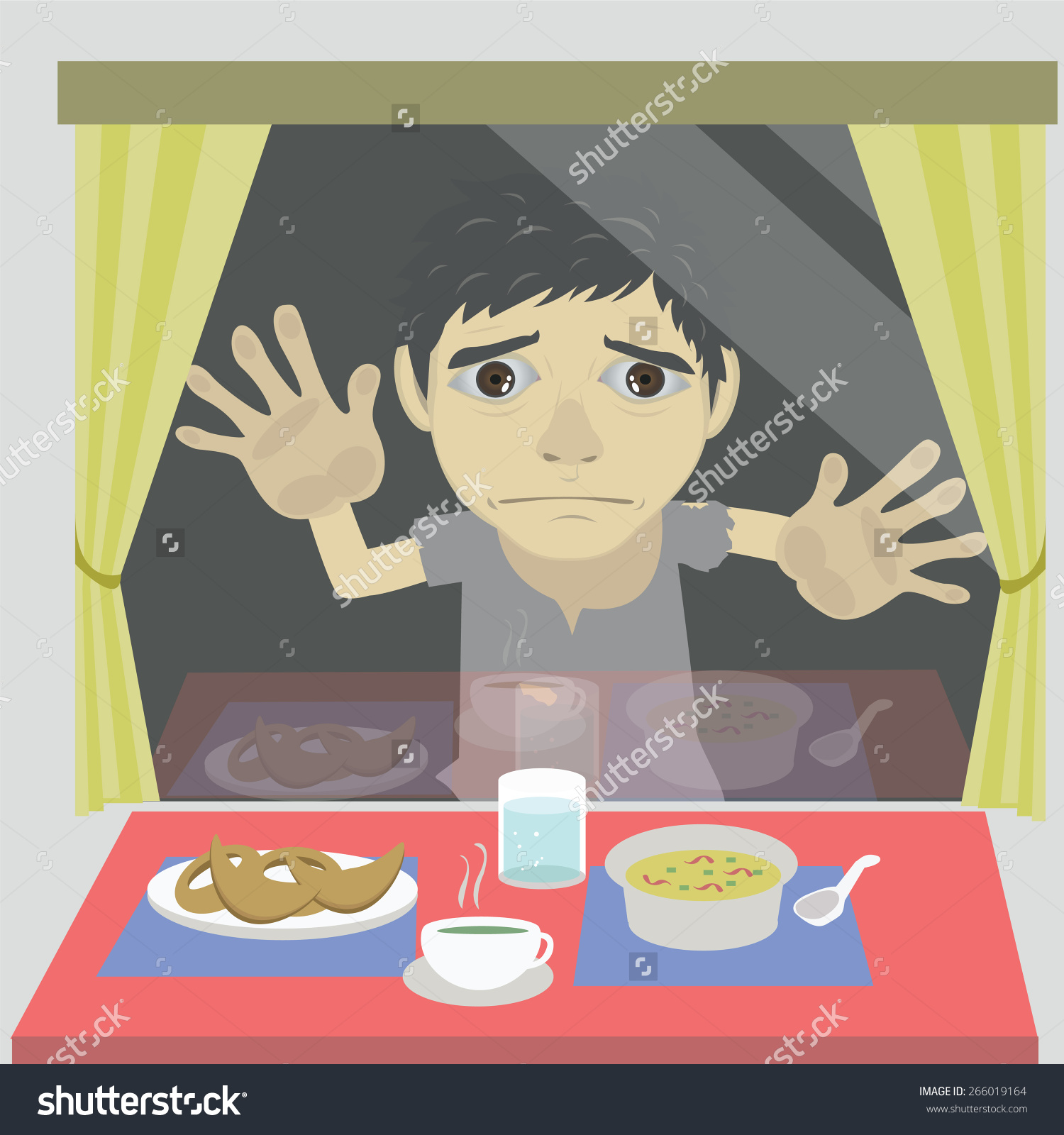Vector Cartoon Homeless Hungry Stands Outside Stock Vector.
