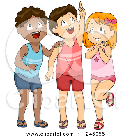 Clipart of Excited Children in Swimwear, Looking up.
