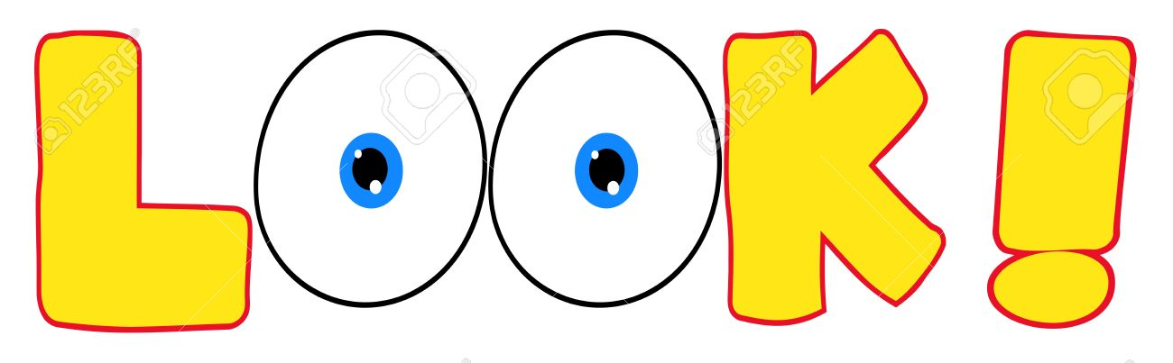 The Word Look With Eyes Clipart.