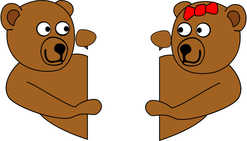 Free Clipart: V Day Teddy Bears Looking Around Corners at Each.