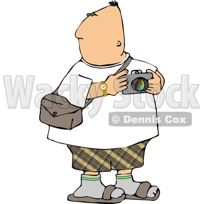 Looking Around with a Camera In His Hand Clipart © Dennis Cox #4980.