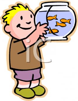 Boy Looking at His Goldfish.