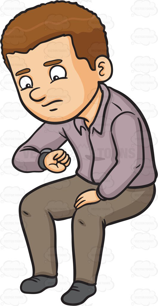 Man Looking At Watch Clipart.