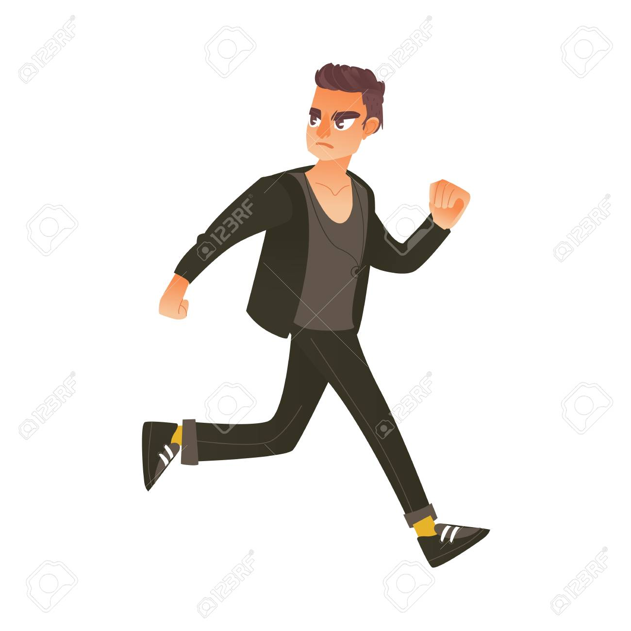 Young man in casual clothing running in panic looking back..