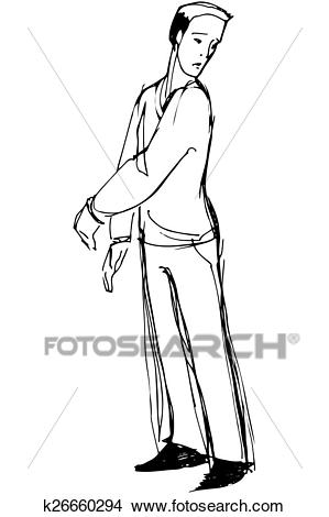 Sketch of a man looking back over his shoulder Clipart.