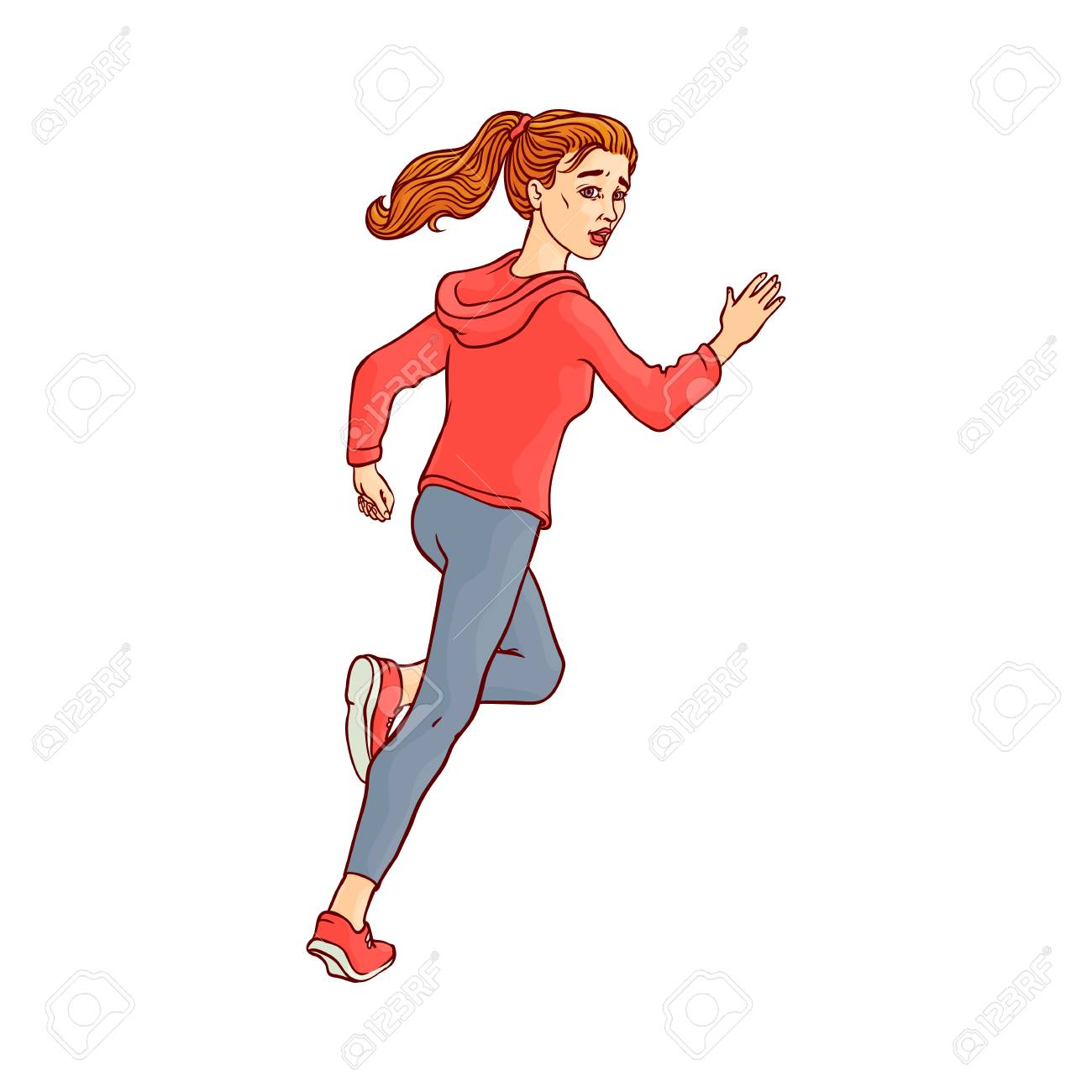 Young sportive girl in athletic clothing, running looking back.