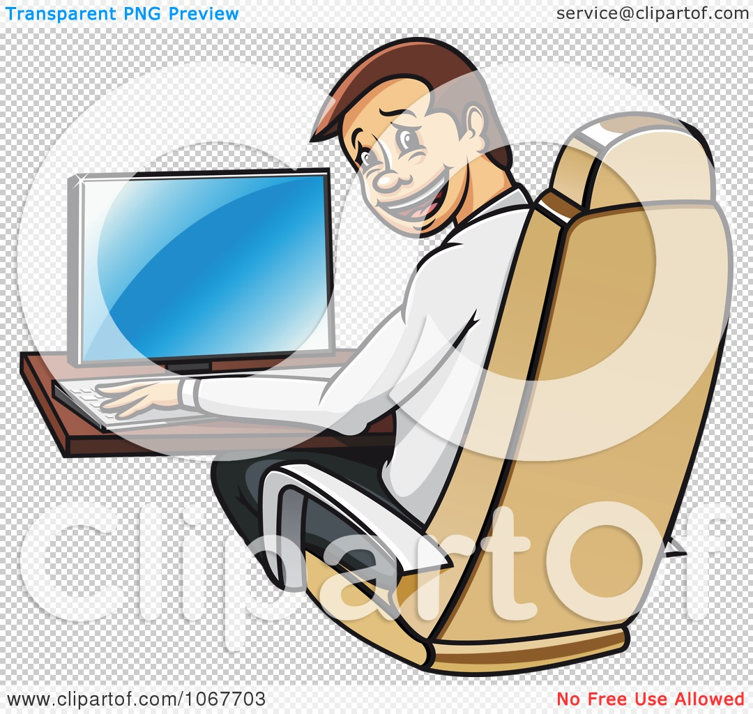 Clipart Happy Businessman Working At A Desk And Looking Back.
