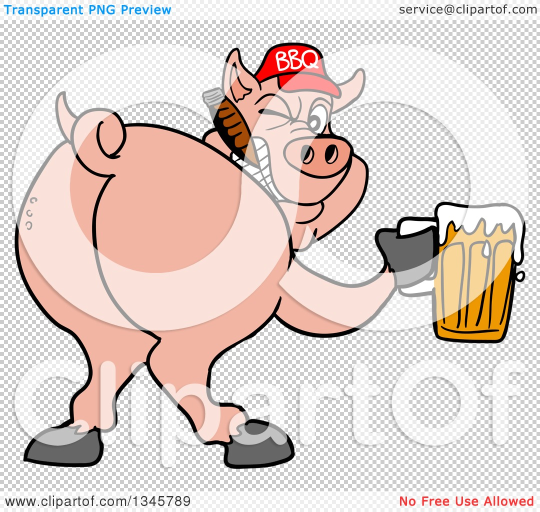 Clipart of a Cartoon Rear View of a Grinning Pig Looking Back.