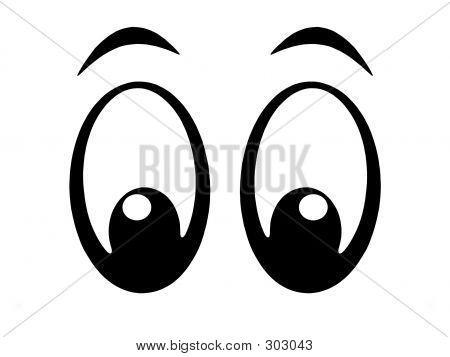 Eye looking down clipart.