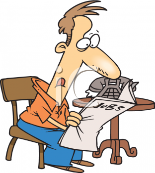 Royalty Free Clip Art Image: Man Looking for a Job in the Newspaper.