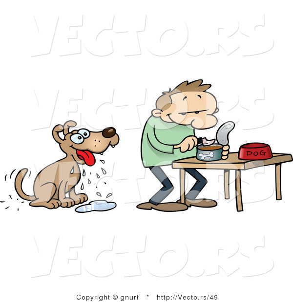 Vector of a Hungry Cartoon Dog Looking at His Owner Prepare Him.