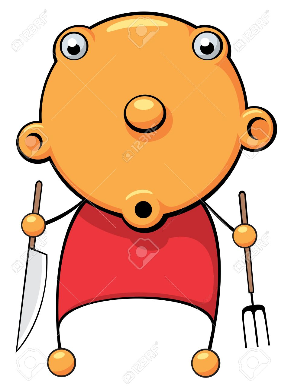 Illustration Of A Hungry Baby With Fork And Knife In His Hands.