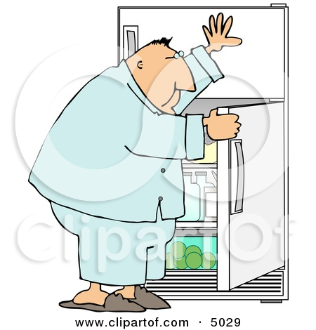 Hungry Overweight Man Looking Through the Refrigerator for Food.