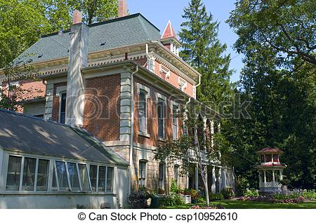 Stock Photography of Mansion and Gazebo in New Ulm.
