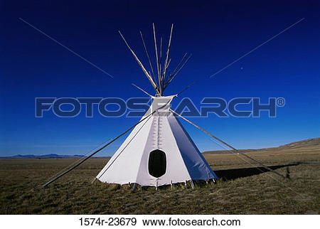Stock Photograph of Teepee on a landscape, Ulm Pishkun State Park.