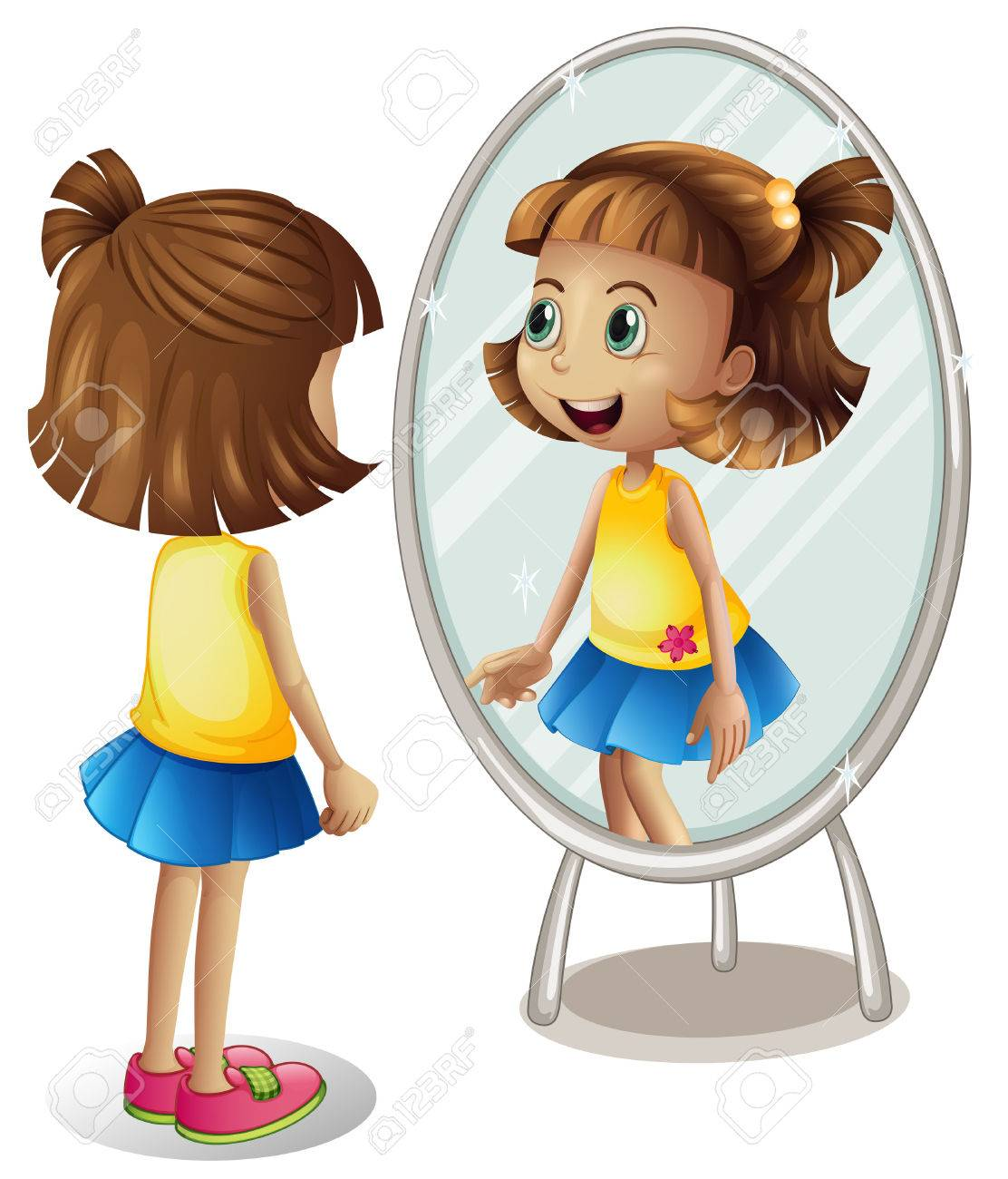 Little girl looking at herself in mirror illustration.