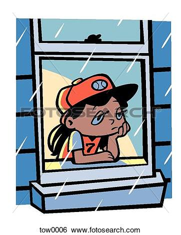 Stock Illustration of sad girl looking out the window tow0006.