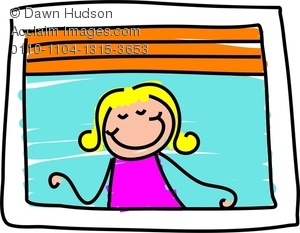 Clipart Image of A Happy Little Girl Looking Out Of A Window.