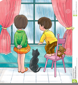 Child Looking Out Window Clipart.