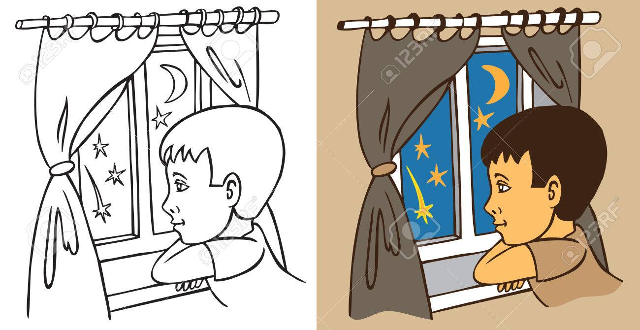 Boy Looking Out Window Clipart.