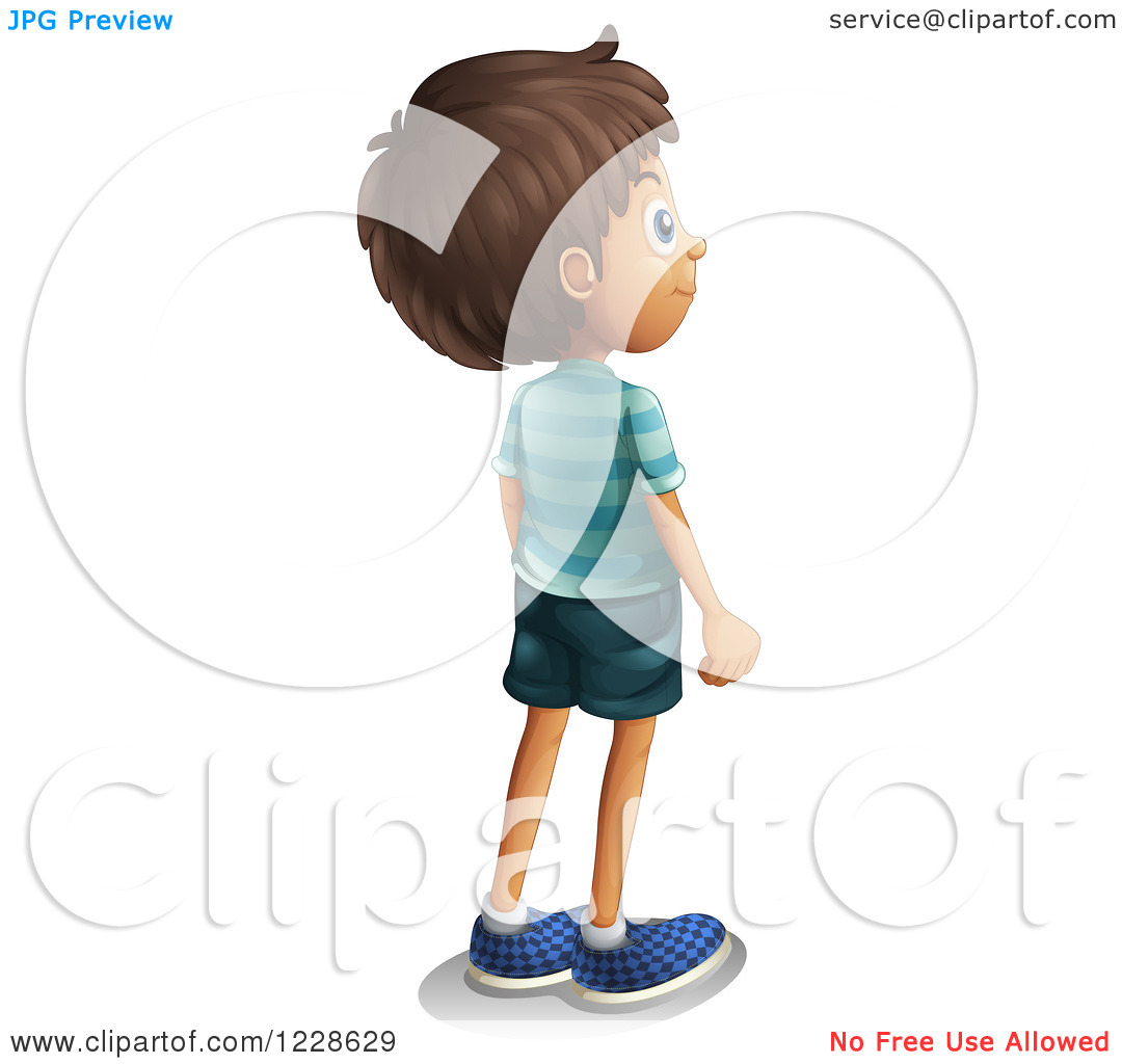 Clipart of a Rear View of a Hispanic Boy Looking to the Right.